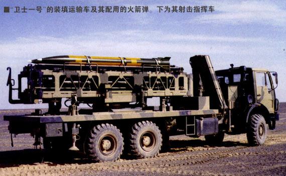 国产WS-1型多管火箭炮系统使用的弹药装填车