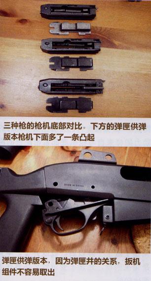 三种枪枪机底部对比及弹匣供弹器