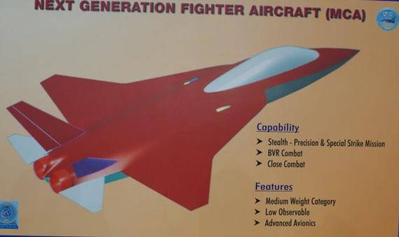 印度在09年航展上展出的未来中型战机布局图