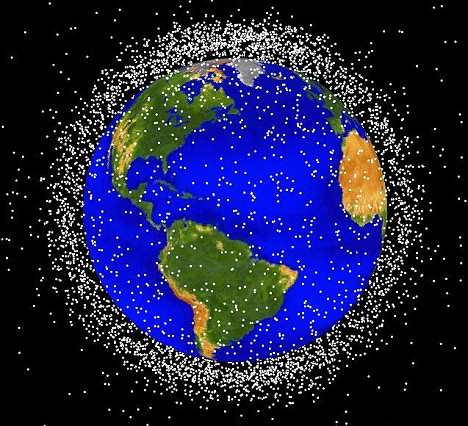 美国宇航局公布的目前跟踪到的碎片示意图