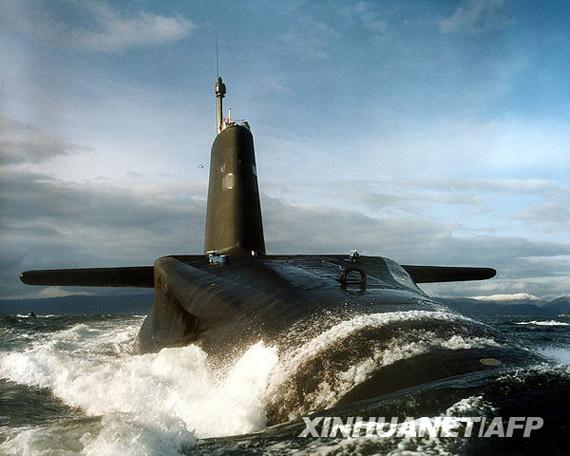 """2月16日从英国国防部获取的""""前卫""""号弹道导弹核潜艇的照片"""