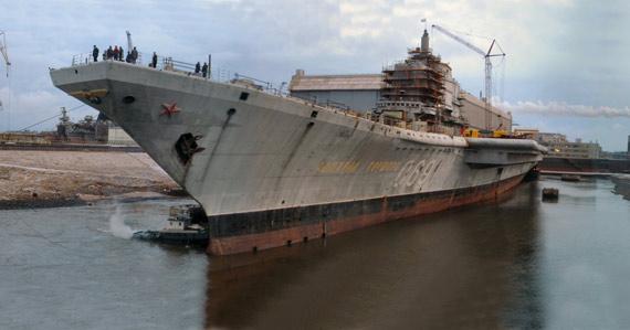 资料图:俄罗斯正在帮印度改装的戈尔什科夫号二手航母