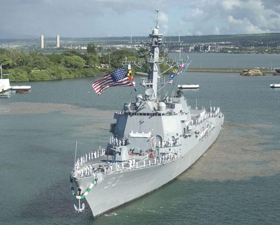 """资料图:美国海军DDG-93""""钟云""""号阿利-伯克级导弹驱逐舰"""