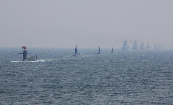 中国海军海上分列式壮观场面新华社记者查春明摄