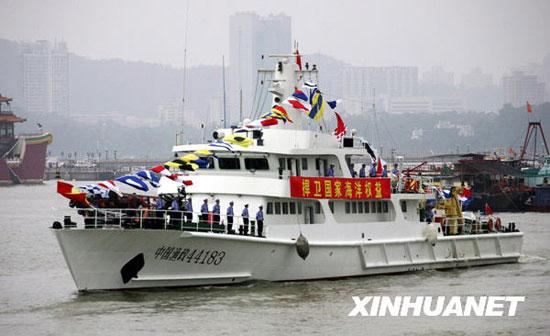 广东省渔政总队珠海支队近日开赴西沙执行维权巡航任务。新华社发(李建束摄)