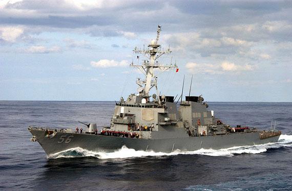 """资料图:美军约翰・麦凯恩号""""宙斯盾""""驱逐舰"""