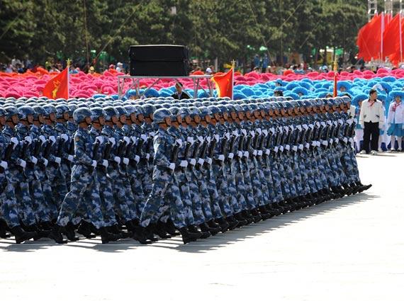 资料图:国庆受阅海军陆战队方队