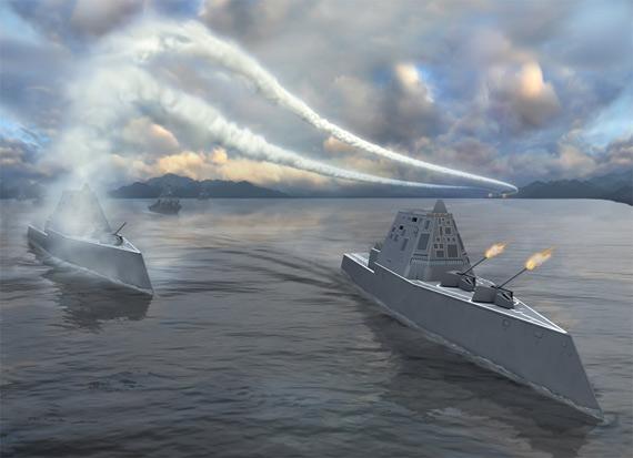 """文章建议美国增建具备拦截反舰弹道导弹设计的""""朱姆沃尔特""""级驱逐舰进行应对中国导弹威胁。"""