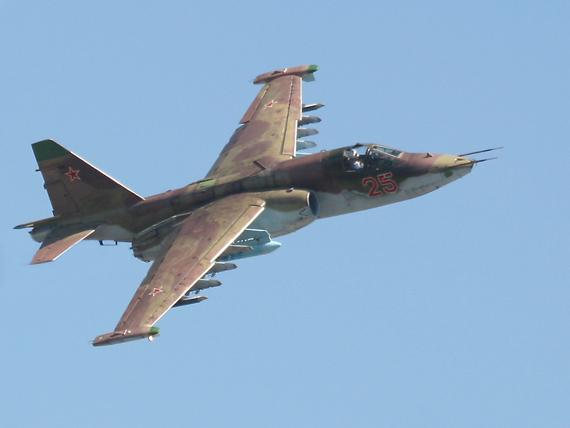 资料图:俄罗斯苏-25蛙足攻击机空中飞行