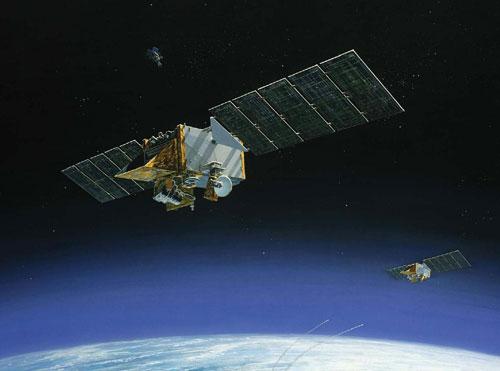 陆基反导系统攻击在轨卫星想像图