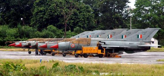 资料图:印度空军的米格-21战斗机群