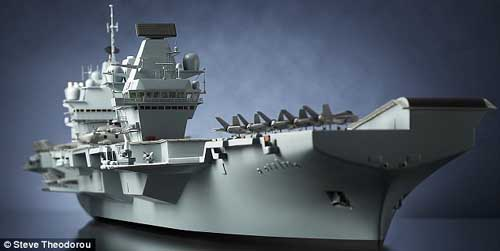 """资料图:比例为1:200的英国""""伊丽莎白女王""""级新型航母模型。"""