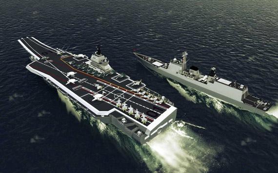 网友制作中国海军未来航母及护航战舰