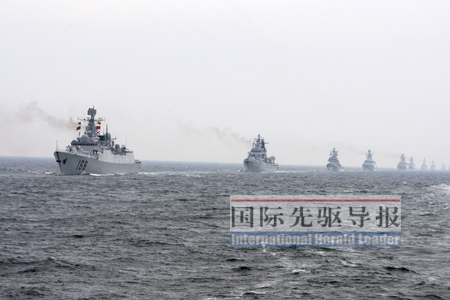Chinese naval fleet of any large-scale activities will be US-Japan surveillance. Xinhua News Agency 