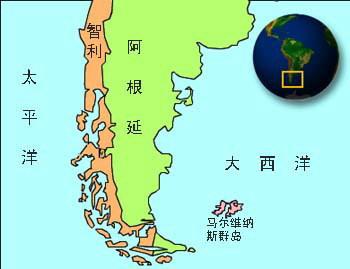 资料图:马尔维纳斯群岛地图