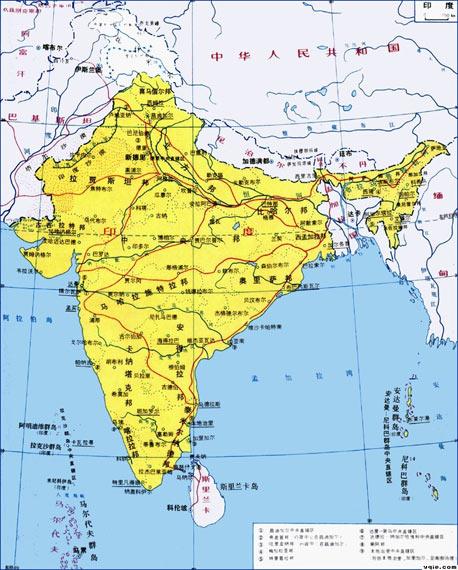 资料图:印度地理位置示意图