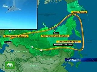 俄罗斯空军图-160战略轰炸机群飞行路线示意图