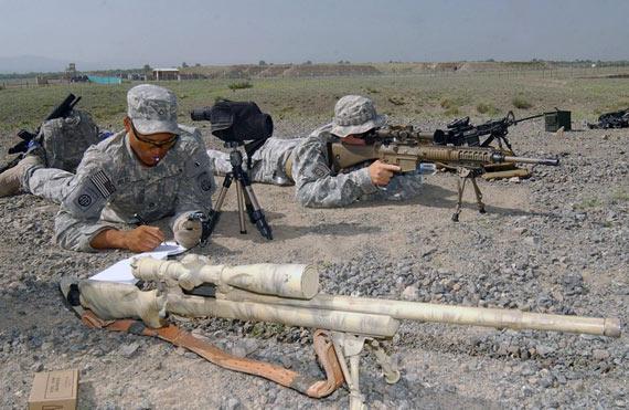 资料图:驻阿富汗美军基地的狙击手