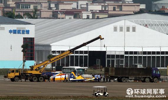 初教-7飞机运抵珠海航展现场。