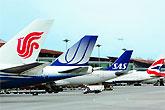 首都机场排队飞机