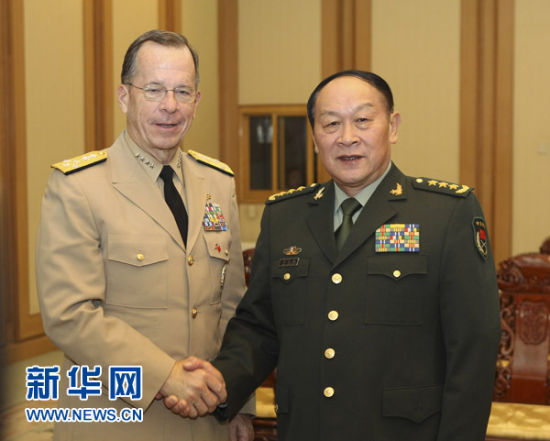 7 11, Chinese State Councilor and Defense Minister Liang in Beijing with the U.S. Joint Chiefs of Staff 席迈克马伦. Xinhua News Agency reporter Ding Linshe