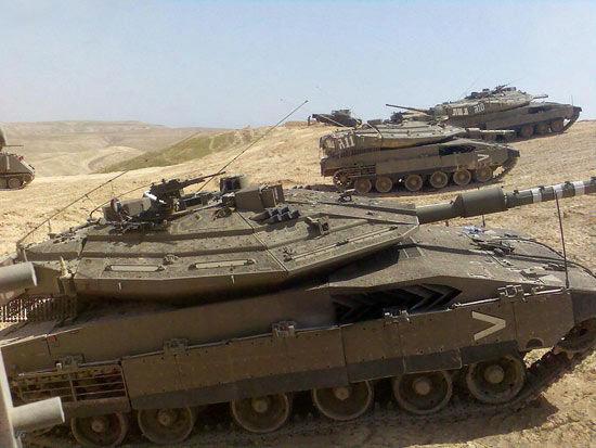 """资料图:以色列""""梅卡瓦-MK4""""主战坦克"""