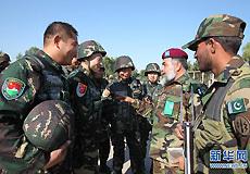 中巴两国官兵在训练间隙交谈