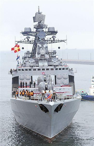 资料图:参加演习的俄海军无畏级反潜驱逐舰。