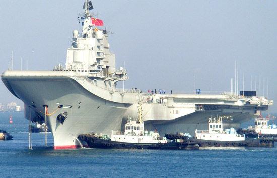 资料图:网上流传的中国航母平台海试回航图
