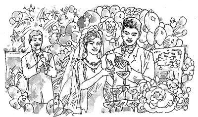 婚礼气球手绘图