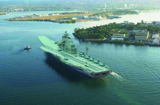 印度购买的维克拉玛蒂亚号航母也迟迟未能交付,上图为维号想象图