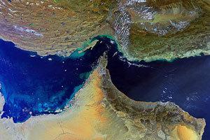 霍尔木兹海峡卫星地图