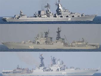 俄海军参演舰艇穿过对马海峡驶往中国
