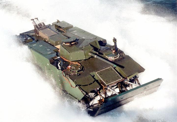美国海军陆战队EFV也采用了滑板式设计