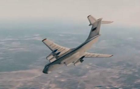 《飞天》剧照:俄航天训练中心的伊尔76飞机急速俯冲创造失重环境