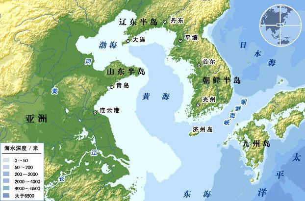 黄海周边地理位置示意图