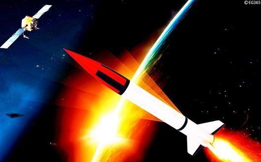 资料图:导弹反卫星想象图。