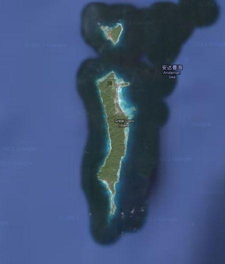 可可群岛卫星图显示其东北部建有一个机场