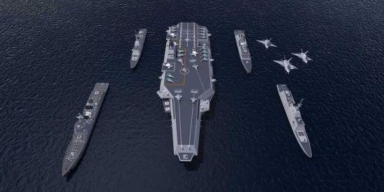 国产未航母战斗群想像图。