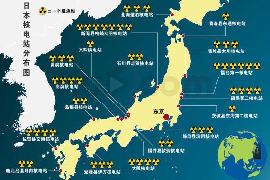 日本核电站分布示意图