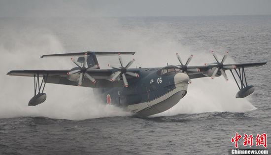 US-2水上飞机在海面起飞