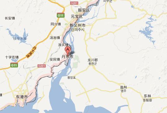 丹东市地理位置示意图