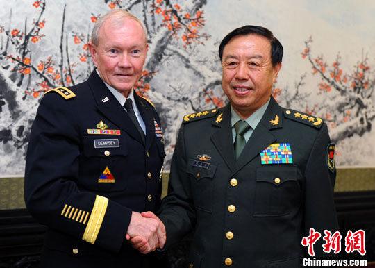 中央军委副主席范长龙会见美军参谋长联席会议主席邓普西