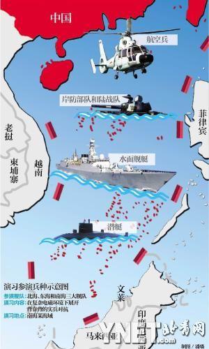 南海大规模军演参演兵力示意图 制图/潘璠