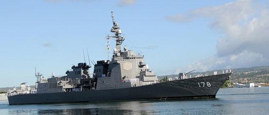 照片为日本海上自卫队的爱宕级宙斯盾级导弹驱逐舰舰二号舰。