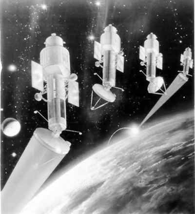美国太空战化学激光武器示意图