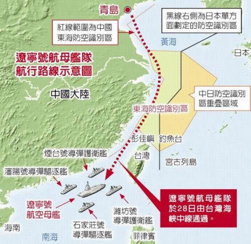 辽宁号航母舰队于28日由台湾海峡中线通过。台方的军情消息透露,中国大陆航空母舰辽宁号28日白天将进入台湾海峡,沿着海峡中线以西,即贴着大陆东南沿岸航行,再进入南海。 图片来源:台湾《中时电子报》