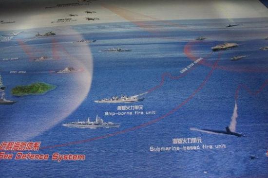 中国科工集团在珠海航展上展出的海防体系示意图。