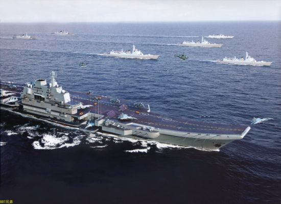 中国航母战斗群想象图