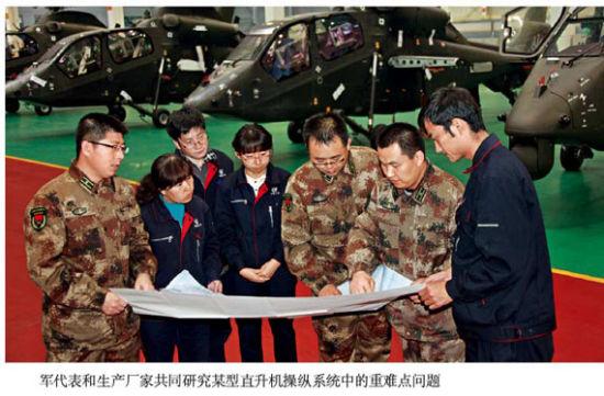 军代表在武直19车间与厂方代表研究难点问题
